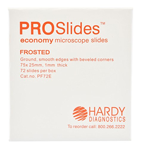 ProSlide Microscope Slides, Frosted, Economy, 3x1 Inches x 1mm, 72 per Box, by Hardy Diagnostics