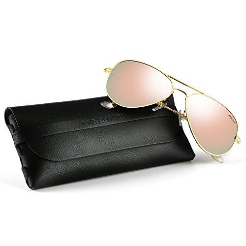 GREY JACK Polarized Classic Aviator Sunglasses Military Style for Men Women Gold Frame Pink Lens Medium