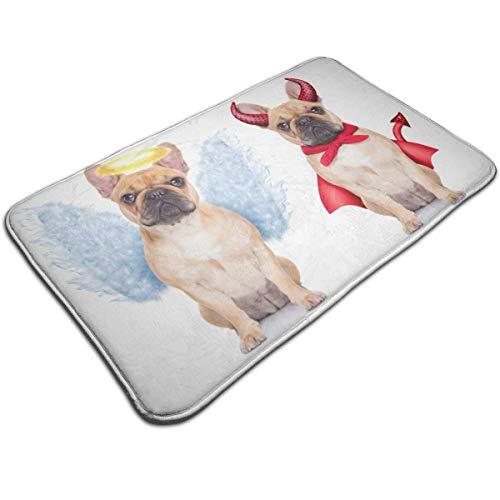 (Henua an Angel Bulldog and A Devil Bulldog Entrance Door Mat Welcome Indoor Bathroom Home Decorative Floor Mat/Cover Floor Rug Indoor/Outdoor Area Rugs)