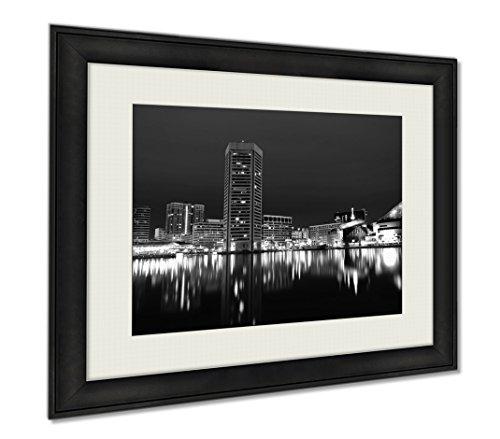 Ashley Framed Prints Long Exposure Of The Baltimore Skyline And Inner Harbor At Night, Wall Art Home Decoration, Black/White, 30x35 (frame size), - Baltimore Inner Shops Harbor