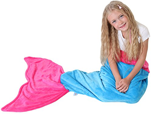 [Mermaid Tail Blanket - Soft and Warm Polar Fleece Fabric Blanket by Cuddly Blankets for Kids and Teens (Ages 3-12) (Ocean Blue and Hot] (Make Monkey Magic Costume)