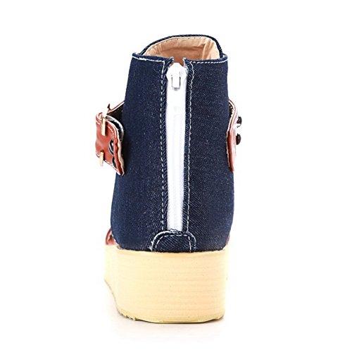 Sandalias Puntera Mini Tacón AllhqFashion tonos y Dos Azuloscuro Dividida Mujeres chanclas UWxBw0