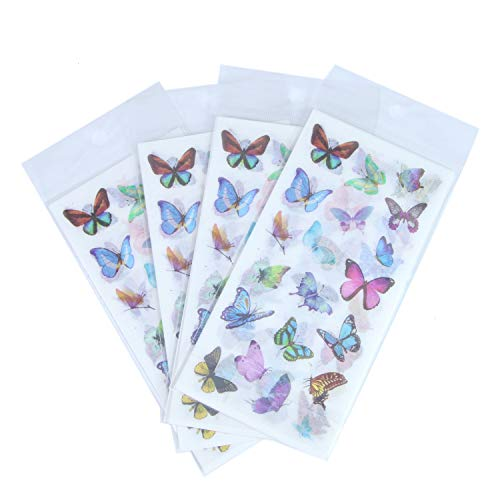 (Monrocco 24 Sheet Butterfly Decorative Adhesive Sticker, Craft Scrapbooking Sticker, Washi Planner Sticker for DIY Arts and Crafts,Life Daily Planner,Bullet Journals,Scrapbooks,Calendars,)
