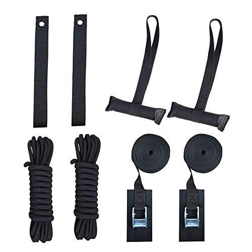 RORAIMA Heavy Duty Hood Loop Straps and Hood Trunk Straps with Lashing Tie down straps and PP Ropes 2 pcs each Ultimate solution kit for Trailing the Kayak/Canoe/SUP/Surfboard/Ski board/Snow board 8 p ()