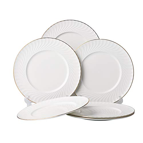 (Mose China, 6 Piece 10 Inches White Bone China Dinner Plate Dinnerware Serving Plates Dishs with Gold Trim - Shell)