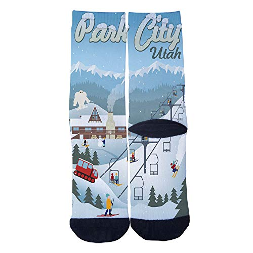(Mens Womens Casual Park City Utah Retro Ski Resort poster Socks Crazy Custom Socks Creative Personality Crew Socks)
