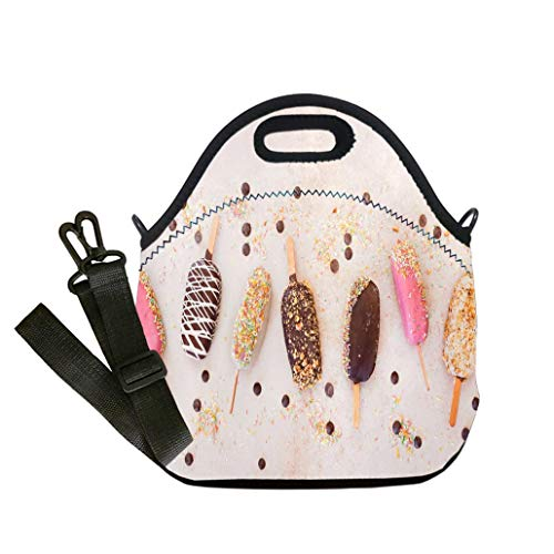 3D Print Neoprene Reusable Cooler Fashion Lunch Bag Ice cream sticks with chocolate fruit roasted almonds and colourful sugar sprinkles custom Stylish Lunch Bag, Multi-use for Men, Women and Kids