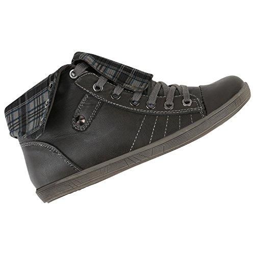 Damen Schuhe Outdoorschuhe Sneaker Karomuster Flandell Grau Grau Karo