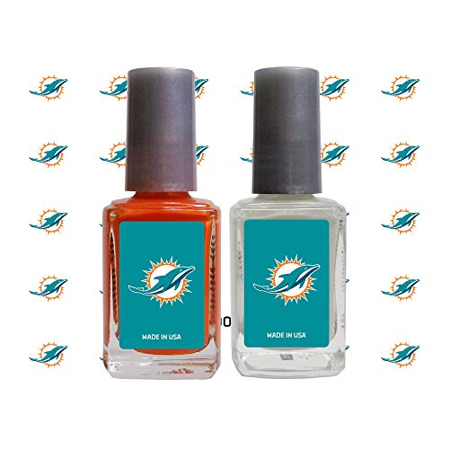 (Worthy Promo NFL Miami Dolphins Nail Care Set, 4-Piece Set, Orange, White)
