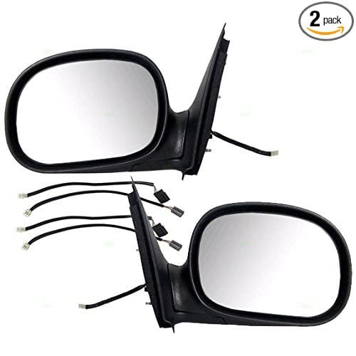 Pair Set Power Side View Contour Mirrors w/Adapters Replacement for Ford F-150 & Heritage F-250 Pickup Truck F85Z17683FAB F85Z17682FAA