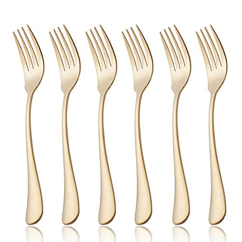 6 Piece Dinner Fork Set 7.3-inch Stainless Steel Table Forks Flatware Silverware Sets Cutlery Utensils Dinnerware Service for 6 Dishwasher Safe (Gold)
