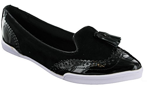 On Womens Shoes Twists Ballerina Slip Pumps Butterfly Brogue Style Black Adrienne Flat w4awUH