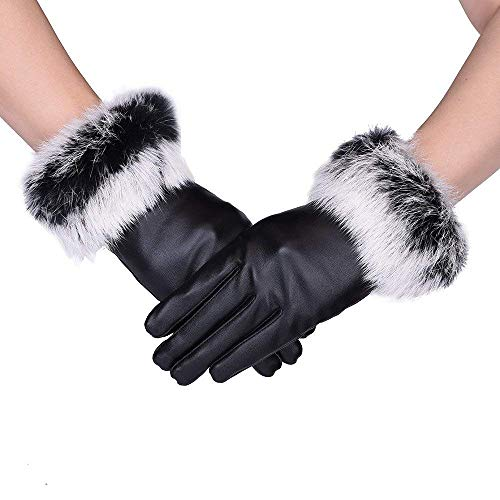 Womens Gloves Windproof and Waterproof Warm GlovesTouchscreen Texting rabbit Fur Wrist Winter PU Leather Gloves Driving Lining Gloves (Black, L)