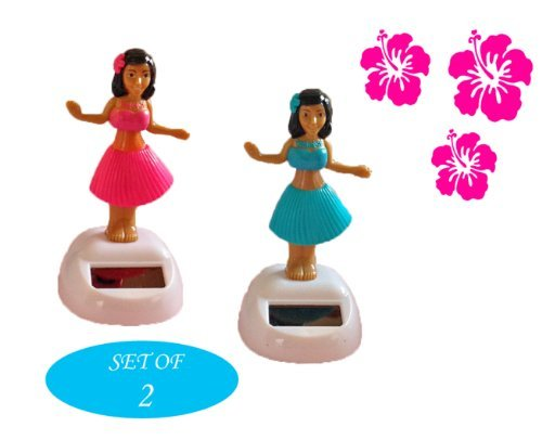Solar Dancing Hula Girl~Blue and Pink Set of