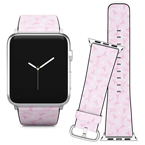 Compatible with Apple Watch (38/40 mm) // Leather Replacement Bracelet Strap Wristband + Adapters // Breast Cancer Awareness Pink Ribbon