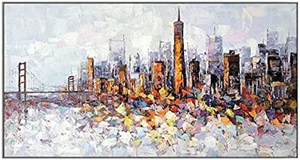 ZHUDJ 100% Handmade Oil Painting Abstract City Colorful HIGT Building Wall Art On Canvas Pictures for Living Room Home Decoration 70cmx140cm No Frame