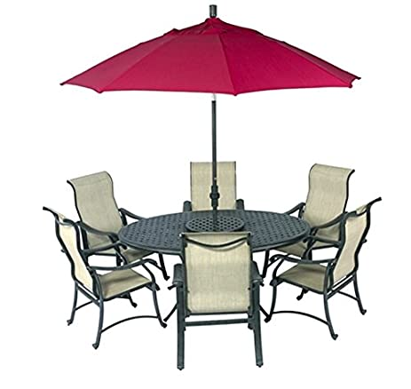 Patio 10 Piece Set Outdoor Sling Dining Sets Cast Aluminum Trinity 70x50  Table Sling Chairs