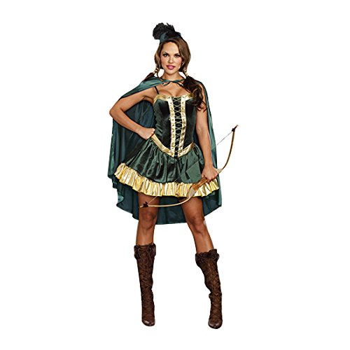 Female Robin Hood Costumes (Dreamgirl Women's Robin Hood Fairytale Costume, Green/Gold, Small)