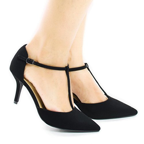 Womens T-strap Pumps - City Classified Women's Pointy Toe T-Strap Mid Heel Pump (5.5 B(M) US, Black Nubuck)