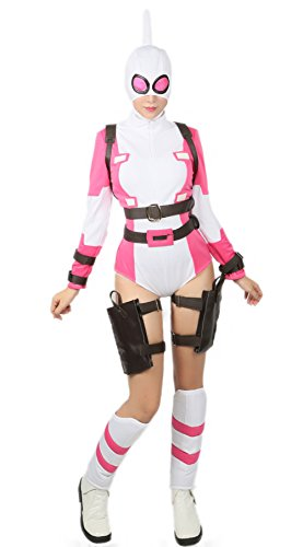 Gwenpool Costume Deluxe Suit Belt Full Set Superhero Cosplay Outfit Accessory M Pink White]()