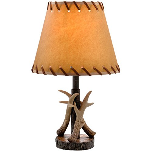 Antler Table Lamp Bronze Finish w/Faux Leather Shade - 16.5 ()
