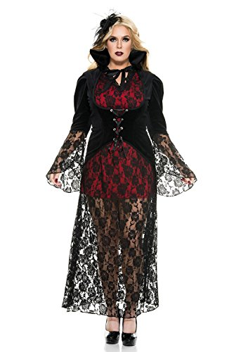 Music Legs Women's Black Widow Vampire Plus Size, red 12, 1X/2X -