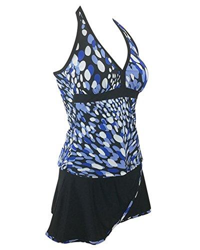 E Due Blu Integrato Piscina Set Pezzi Costumi Beachwear Bagno Bikini Tankini Taglie Gonna Con Donna Halter Forti LaoZanA Swimwear Mare Da w8BaFqnR