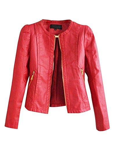 Cuero Mujeres DianShao Abrigo Vendimia Chaquetas Rojo Biker PU Cuello Redondo Jacket De 6fUIqdU