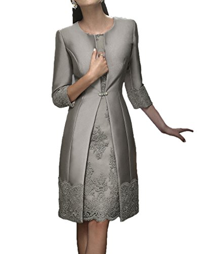 Blevla Satin Appliqued Mother of The Bride Dresses with Jackets Grey US 12