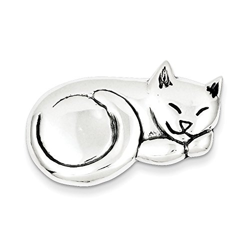West Coast Jewelry Sterling Silver Antiqued Sleeping Cat Pin