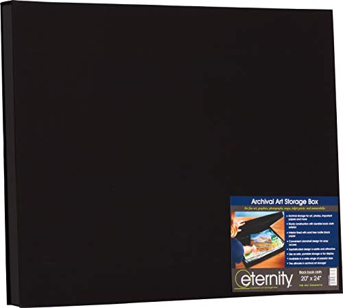 - HG Concepts Art Photo Storage Box Eternity Archival Clamshell Box for Storing Artwork, Photos & Documents Deluxe Acid-Free Sturdy & Lined with Archival Paper - [Black - 20