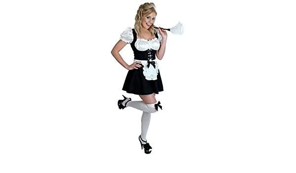 0c55cb121ee3 Amazon.com: Ladies Sexy Cheeky Fraulein French Maid Servant Housekeeper  Wench & Duster Rocky Horror Fancy Dress Costume Outfit UK 6-22 Plus Size  (UK 8-10) ...