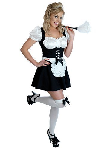 Ladies Sexy Cheeky Fraulein French Maid Servant Housekeeper Wench & Duster Rocky Horror Fancy Dress Costume Outfit UK 6-22 Plus Size (UK 20-22) Black