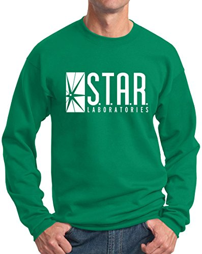 Star Labs Sweatshirt Star Laboratories Superhero Sweatshirts K Green M