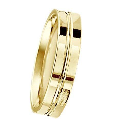 6 Millimeters 10 Karat Yellow Gold Wedding Ring on Sale with Luxury Polish and Bright Center Ridge