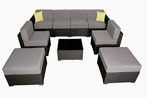 MCombo 6082 9PC Bigger Size Outdoor Furniture Luxury Patio Thick(6″) Cushions Wicker Rattan Sofa Chair Sectional (Grey) 6082