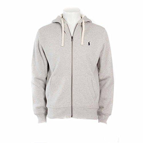 (Ralph Lauren Polo Classic Full-Zip Fleece Hooded Sweatshirt (Medium, Heather Gray/Navy Logo))