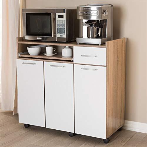 Baxton Studio Charmain Kitchen Cabinet in Light Oak and White