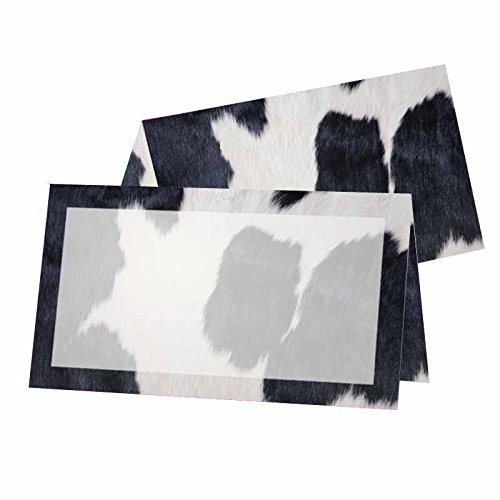 (Full Cow Print with Border Place Cards - Tent Style - Placement Table Name Seating Stationery Party Supplies - Any Occasion or Event - Dinner Food Display - Product Tag)