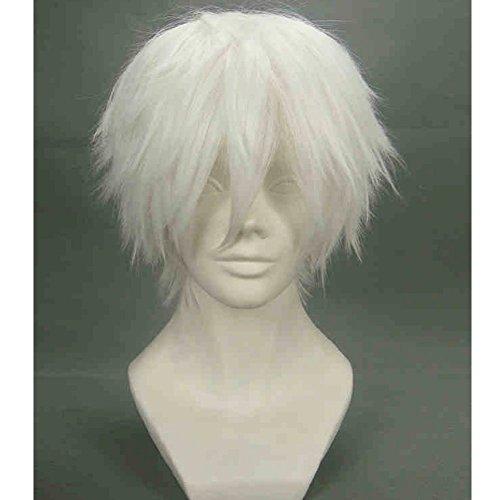 Mainlead For Tokyo Ghoul Tokyo Guru Kaneki Ken Cosplay Halloween Wig Silver White]()