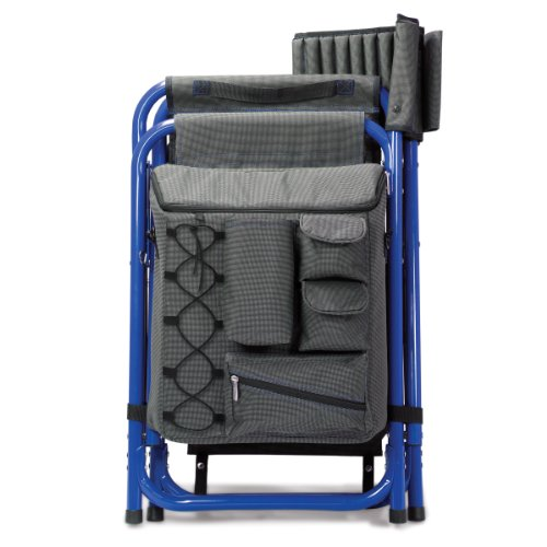 Picnic Time 'Fusion' Original Design Outdoor Folding Chair, Gray with Blue Frame