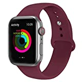 AdMaster Compatible for Silicone Apple Watch Band and Replacement for Sport iwatch Accessories Bands Series 4 3 2 1 Wine Red 38mm/40mm M/L