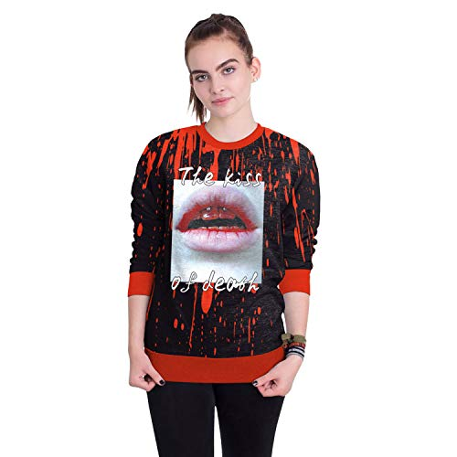 Melory Halloween Sweatshirt Crew Neck Long Sleeve Top Party Costume The Kiss of Death Lip Printed Pullover for Women S -