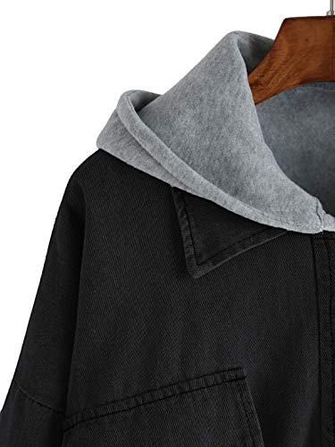 Femme Top Manteau en Jeans SOLY Capuche Poche Ensemble Outerwear avec Denim Pull Longues Vest Chic en Blouson Manches avec Noir HUX 5wwzqxAO