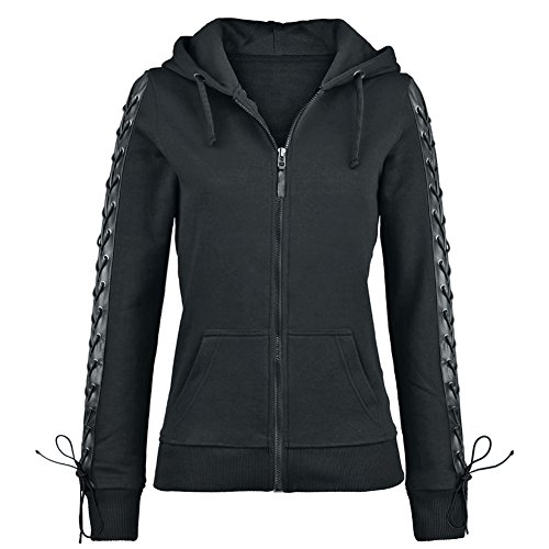 Dressation Women's Punk Style Slim Fit Zip Up Fleece Hoodie Jacket, Black, XX-Large