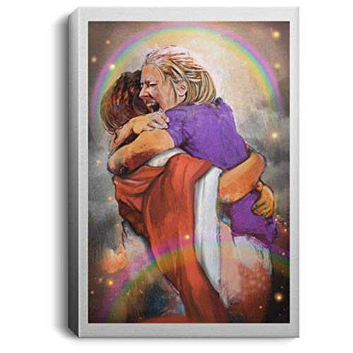 First Day in Heaven I Held Him and Would Not Let Him Go Jesus Christ Framed Canvas - Unframed Poster, 16' x 24', Portrait Canvas/White