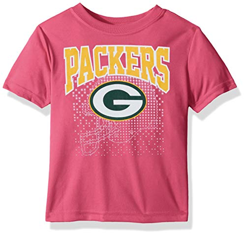 NFL Green Bay Packers Girls Short-Sleeve Tee, Pink, 3T (Packers Shirt Girls)