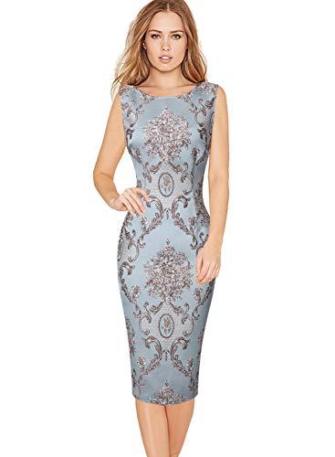 Vfshow Womens Elegant 3D Floral Jacquard Cocktail Party Bodycon Sheath Dress 1895 GRN L