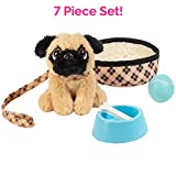 Adora Amazing Pets 'Preston the Brown Pug' - 18' Doll Accessory includes 4.5' Dog, Dog Bed, Collar, Leash, Ball, Wooden Bowl and Bone (Amazon Exclusive)