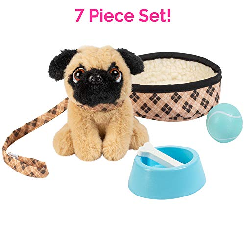 "Adora Amazing Pets ""Preston the Brown Pug"" – 18"" Doll Accessory with Dog, Dog Bed, Collar, Leash, Ball, Wooden Bowl and Bone (Amazon Exclusive) (Toy Dog Pug)"